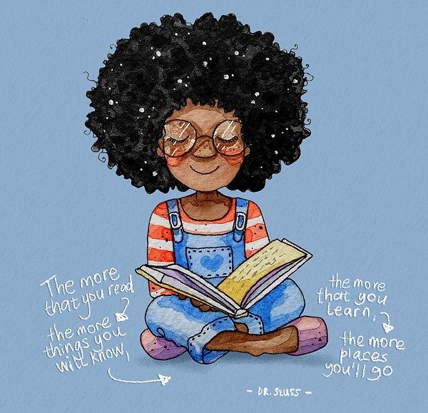 Victoria Ellis Art - Afro Girl Reading-c
