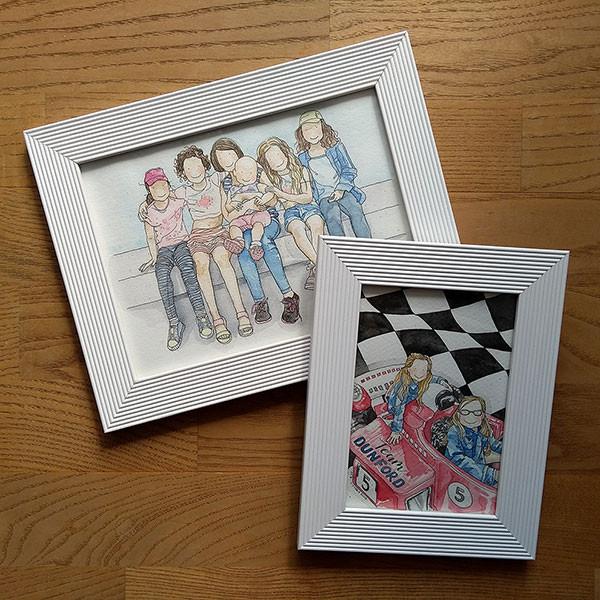 Framed Watercolour Portraits