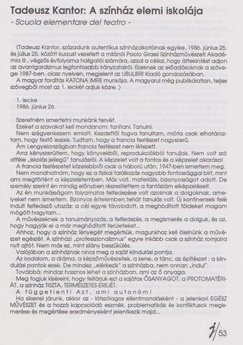 Tadeusz Kantor: A színház elemi iskolája