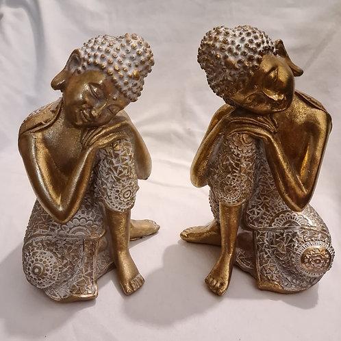 Pair of Gold & White Thai Buddha - Contemplation