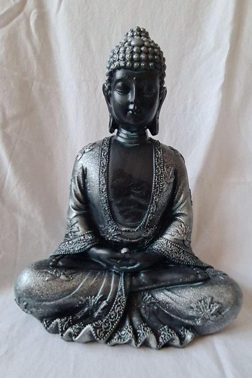 Thai Buddha Figurine Black & Silver - Peace