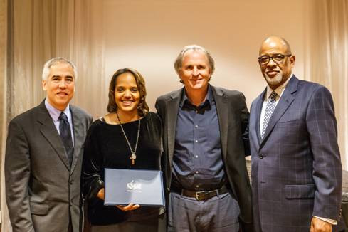 Left to right: Charles Garrett, President of the Society for American Music; Honoree Terri Lyne Carrington; Roger Brown, President of Berklee College of Music; and Larry Simpson, Provost of Berklee College of Music. Photo credit: Michael Broyles