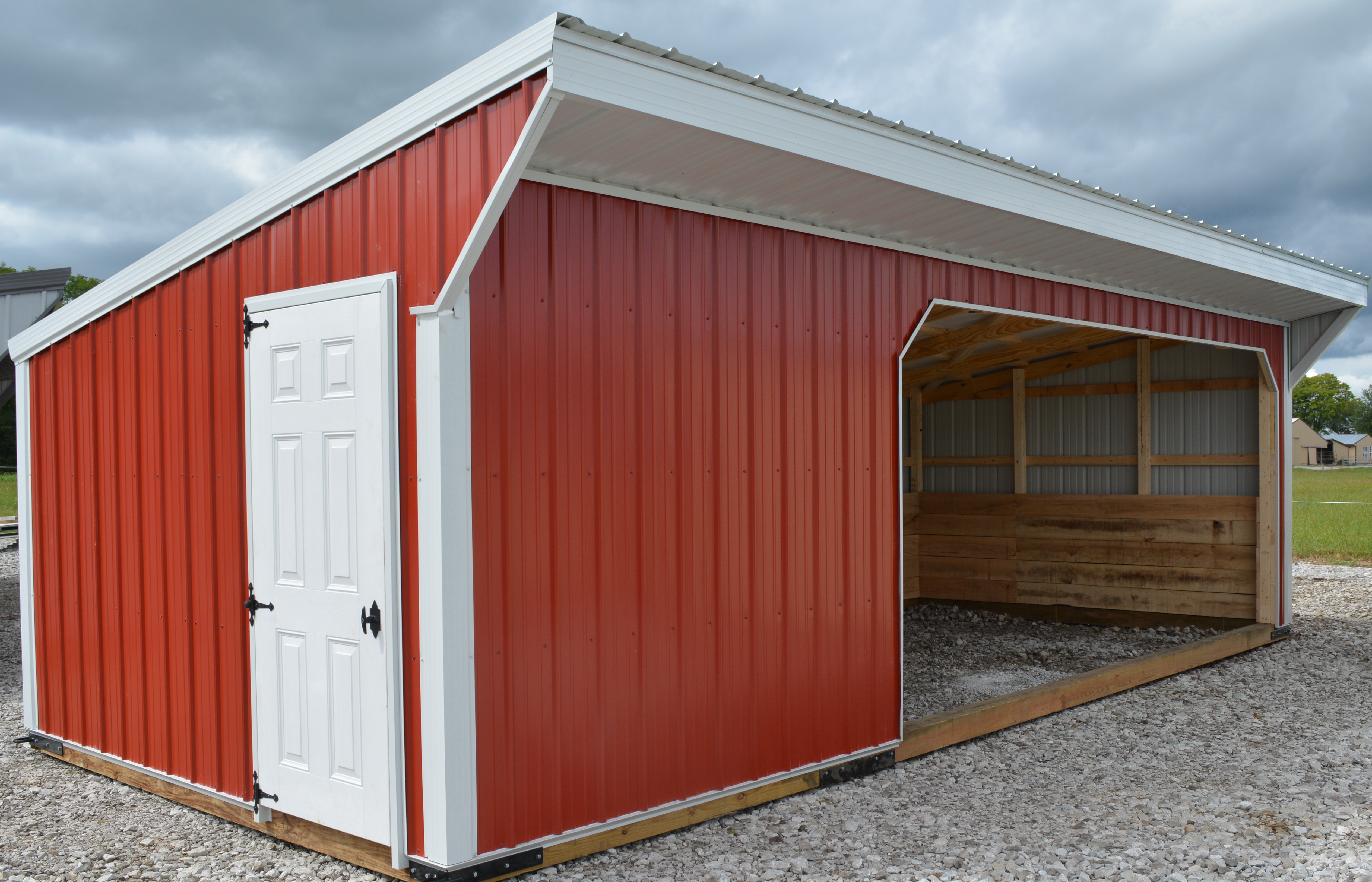 Open Front Metal With Tack Room Horse Barns 1