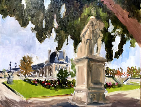 Paris Jardin des tuileries huile