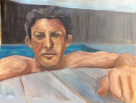 Homme à la piscine- Acrylique