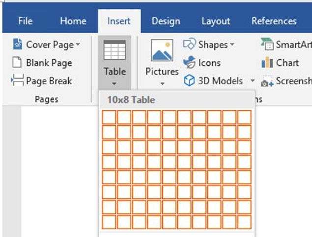 Steps to create new table in documents