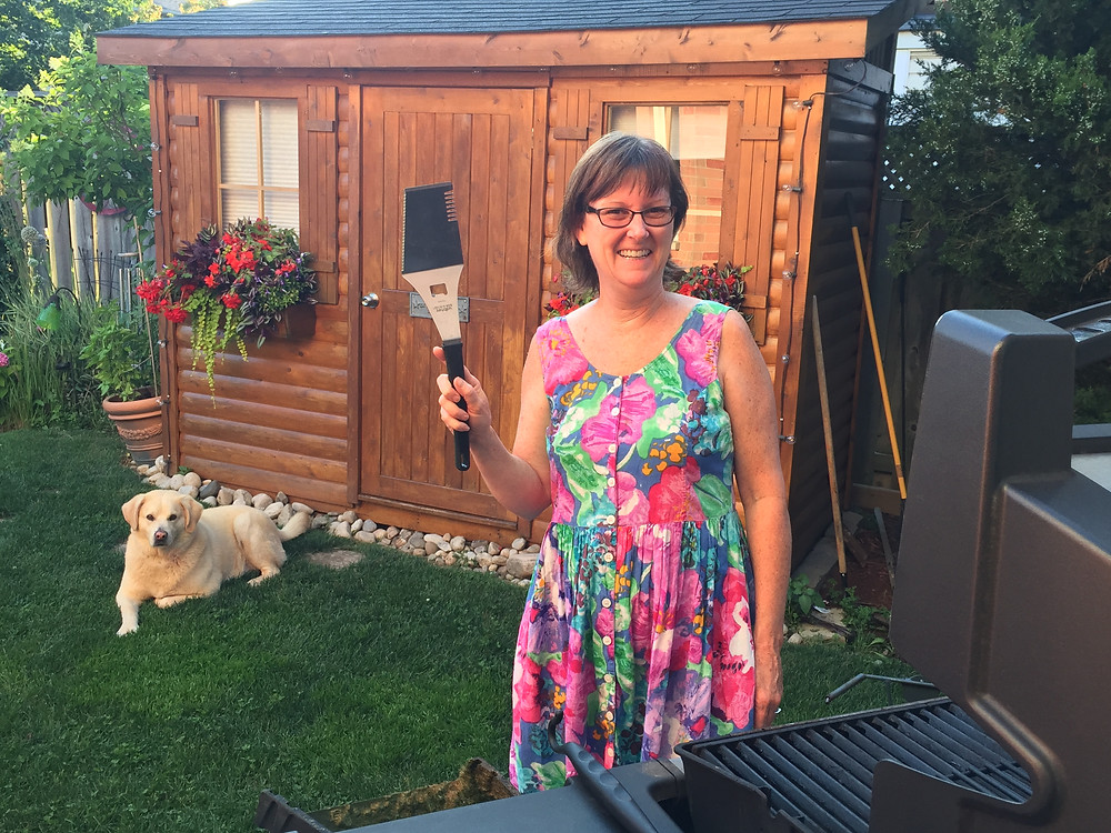 Marcia getting ready for a summer BBQ with Toby (the dog's) help!