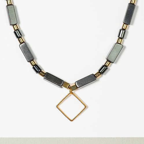 Gold and Granite Metallic Necklace