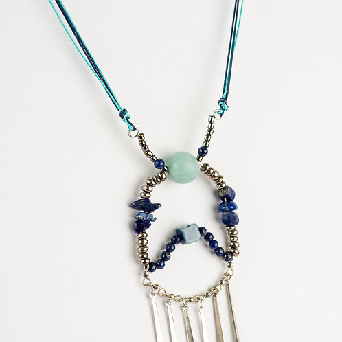 Blue Boho Tassel Necklace