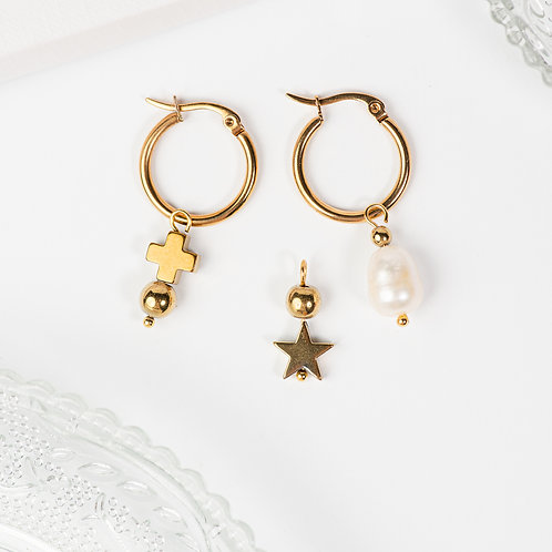 Gold Charm Interchangeable Hoops