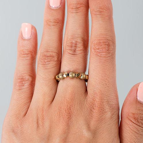 Diamond and Gold Hematite Ring