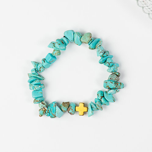 Turquoise Golden Cross Bracelet