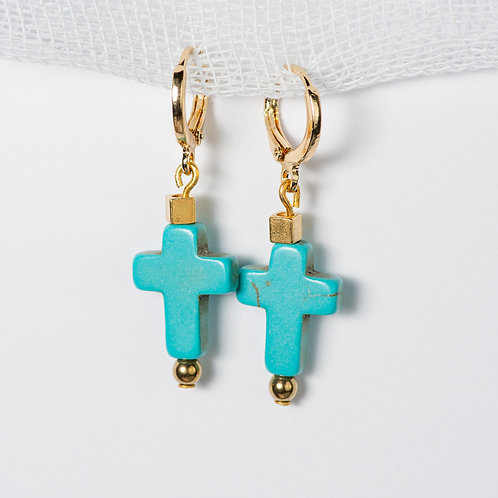 Aqua Golden Cross Earrings