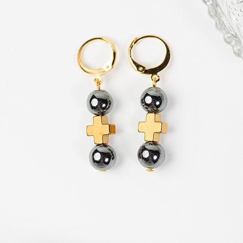 Lefkada Metallic Cross Earrings