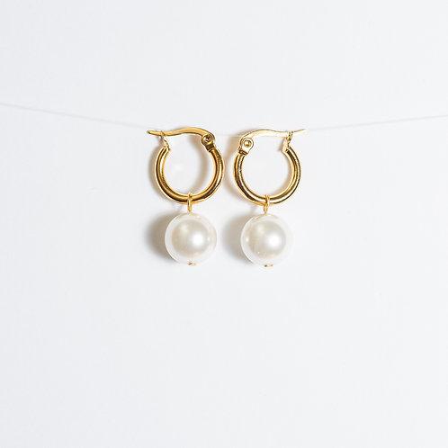 Pearl Love Hoop Earrings