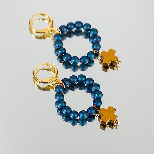 Blue Sea Cross Earrings