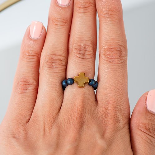 Cross Blue Hematite Ring