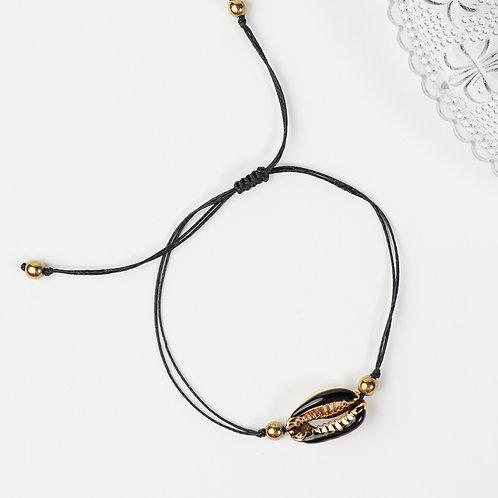 Gold and Black Seashell Bracelet