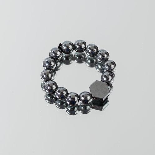 Geo Granite Hematite Ring