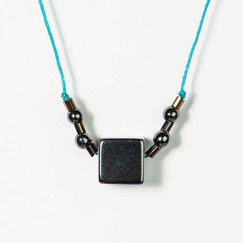 The Turquoise Metallic Cube Necklace