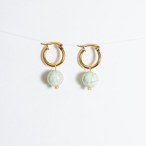 Mint Love Hoop Earrings