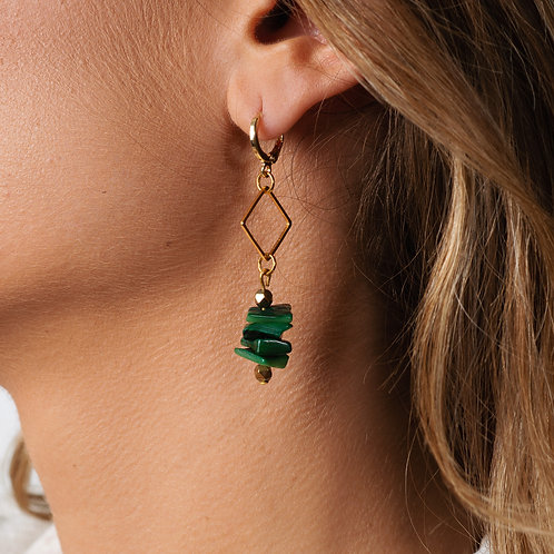 Emerald Square Golden Earrings