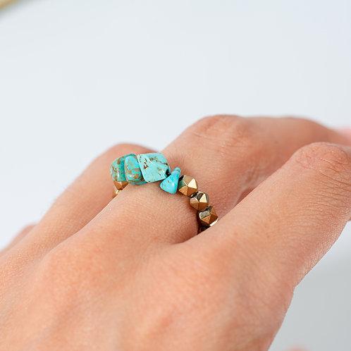 Golden Turquoise Hematite Ring