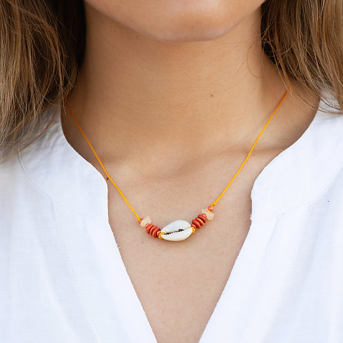 Orange Seashell Necklace