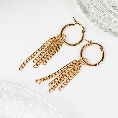 Gold Tassel Chain Interchangeable Hoops