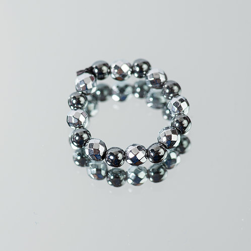 Silver-Granite Hematite Ring