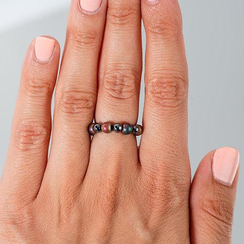 Red Iridescent Hematite Ring