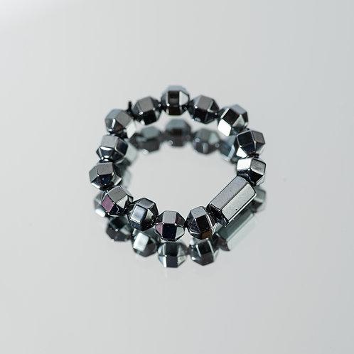 Geometric Hematite Ring