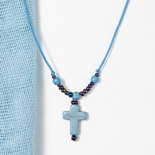 Blue Cross with beads Necklace