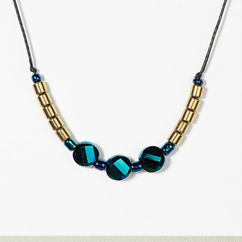 Blue and Metal Necklace