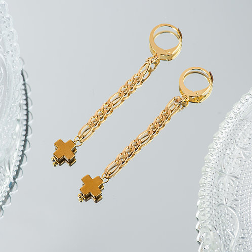 Cross Chain Earrings