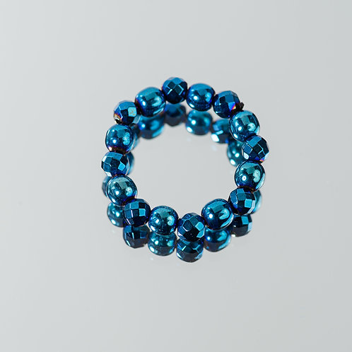 Blue Sparkle Hematite Ring