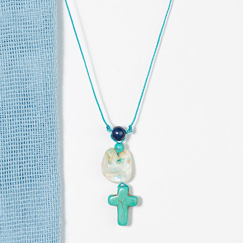 Blue on the Rocks Cross Necklace