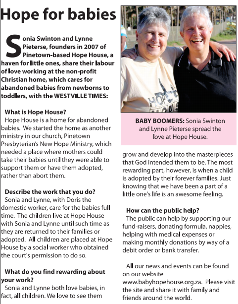 Featured in the Westville Times