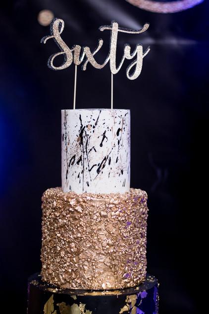 Closeup of Three Tier 60th Birthday Cake- Black, Gold and White Birthday Cake