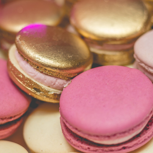 gold and pink macarons