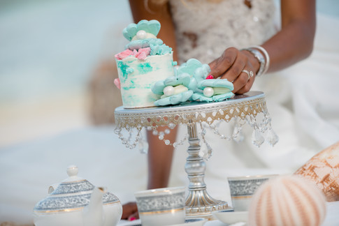 Mini Watercolor Buttercream cake topped with clam shell meringue kisses. Sitting beside clam shell meringue kisses