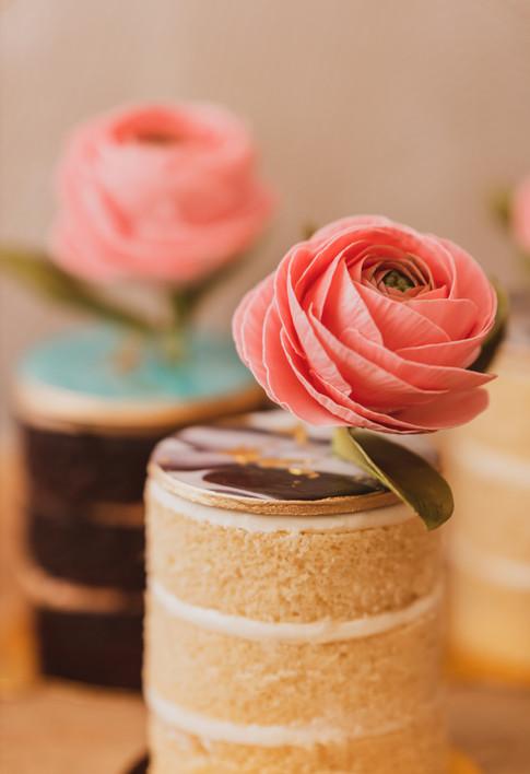 Ranunculus Topped Mini Tea Cakes
