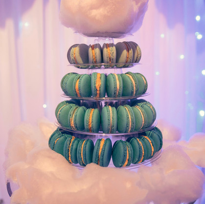 Macaron Tower- blue ombre macarons topped and surrounded by cotton candy (fairy floss)