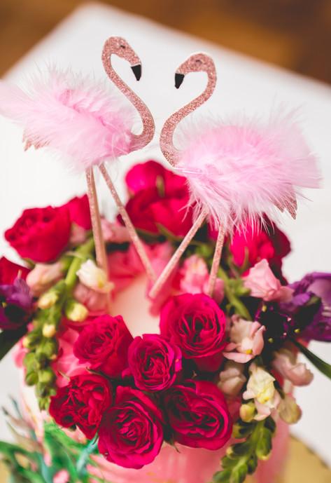 Close up of Flamingo Party Cake