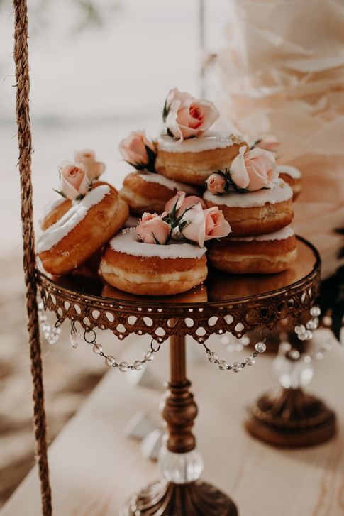 Vanilla Iced Donuts featuring Fresh Roses