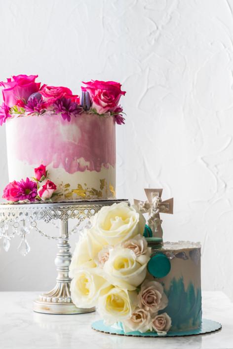 Duo of One Tier Butterceam Cakes