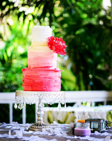 Three Tier Pink Ombre Ruffle Wedding Cake featuring Gumpaste Peony