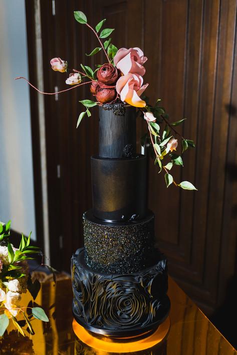 All Black Wedding Cake featuring Sugar Florals