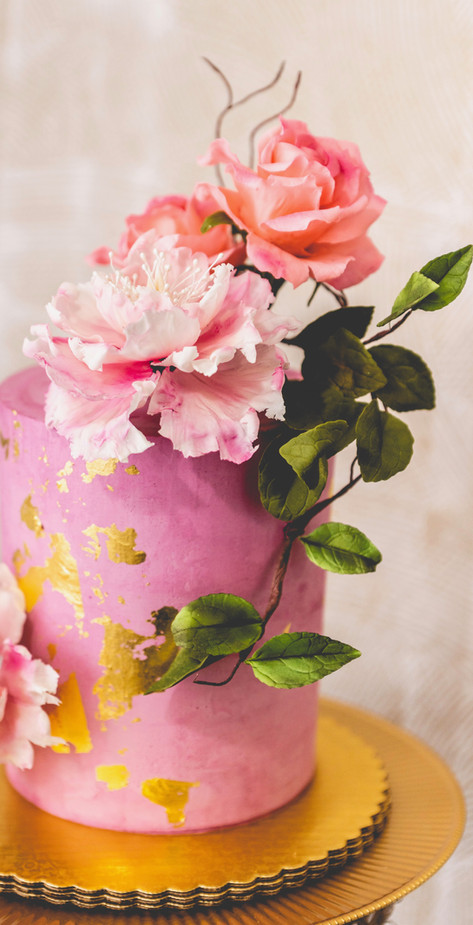 Purple Buttercream Cake Gilded in Gold and Designed with Edible Florals and Foliage