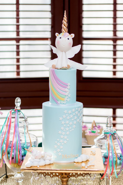 Two Tier Unicorn Birthday Cake with handmade fondant unicorns